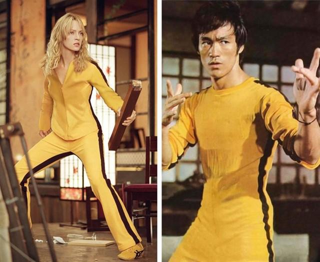 """Bộ trang phục ấn tượng mà """"đả nữ"""" Uma Thurman mặc trong Kill Bill 1 hoá ra được nhằm để tri ân hình ảnh của huyền thoại võ thuật Lý Tiểu Long trong bộ phim Game of Death."""