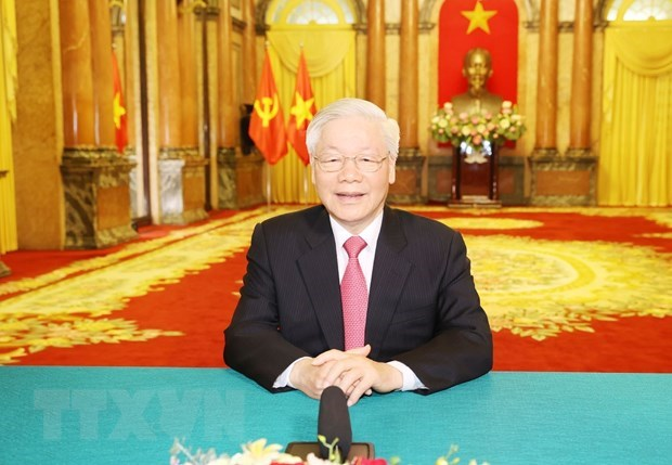 Tổng Bí thư, Chủ tịch nước Nguyễn Phú Trọng gửi thông điệp tới Phiên thảo luận chung cấp cao Khóa 75 Đại hội đồng Liên hợp quốc. (Ảnh: Trí Dũng/TTXVN).