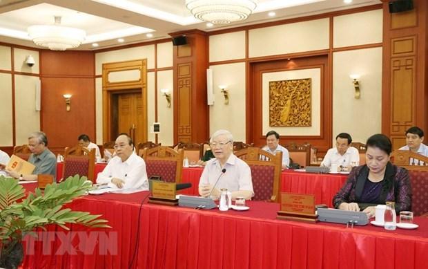 Tổng Bí thư, Chủ tịch nước Nguyễn Phú Trọng chủ trì buổi làm việc của tập thể Bộ Chính trị với Thường vụ Đảng ủy Công an Trung ương. Ảnh: TTXVN.