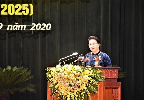 Chủ tịch Quốc hội phát biểu tại Đại hội Thi đua yêu nước tỉnh Thái Nguyên. Ảnh: Báo QĐND.