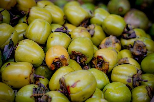 Đối với người Hà thành hồng giòn vẫn là thức quả được ưa chuộng nhất khi tiết trời vào Thu bởi hương vị đặc trưng rất riêng. (Ảnh: Minh Hiếu/Vietnam+).