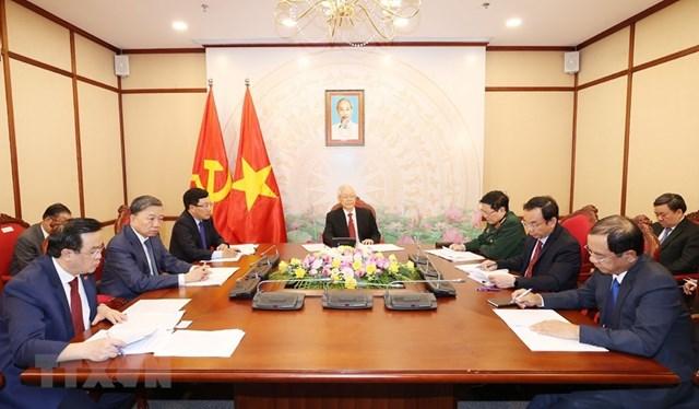 Tối 29/9/2020, tại Trụ sở Trung ương Đảng, Tổng Bí thư, Chủ tịch nước Nguyễn Phú Trọng điện đàm trực tiếp với Tổng Bí thư, Chủ tịch nước Trung Quốc Tập Cận Bình. (Ảnh: Trí Dũng/TTXVN).
