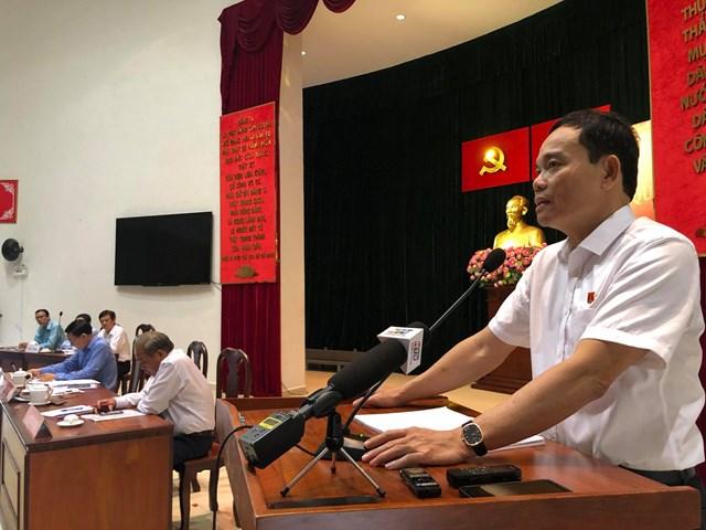 Đại biểu Trần Lưu Quang, Phó Bí thư Thường trực Thành ủy TP HCM phát biểu tiếp thu ý kiến cử tri (Ảnh: Hồng Phúc).