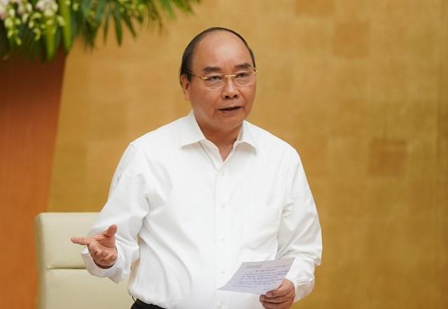 Thủ tướng Nguyễn Xuân Phúc phát biểu tại phiên họp. Ảnh: VGP.
