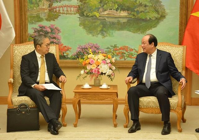 Bộ trưởng, Chủ nhiệm VPCP Mai Tiến Dũng tiếp Đại sứ Nhật Bản tại Việt Nam Yamada Takio. Ảnh: VGP.