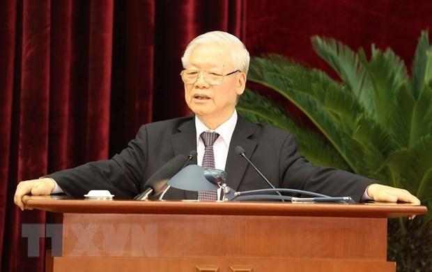 Tổng Bí thư, Chủ tịch nước Nguyễn Phú Trọng phát biểu bế mạc Hội nghị. (Ảnh: Trí Dũng/TTXVN).