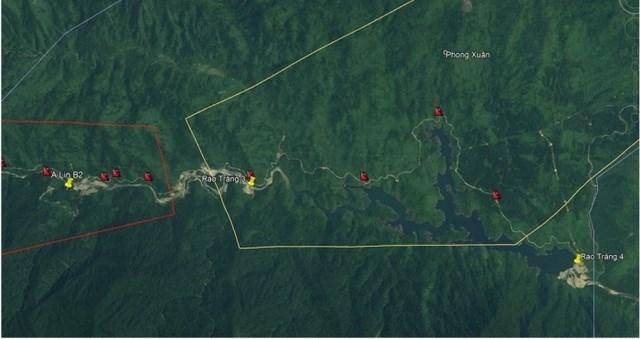 Các điểm trượt xảy ra trong khu vực xã Phong Xuân, huyện Phong Điền (quan sát từ ảnh Google Earth).