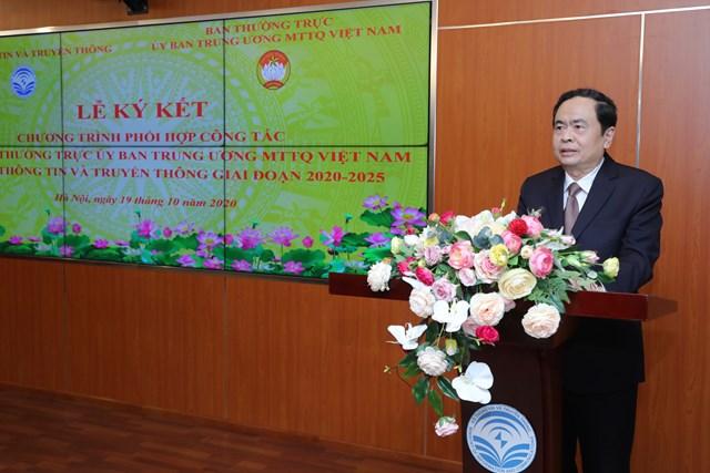 Chủ tịch Trần Thanh Mẫn phát biểu tại Lễ ký kết.Ảnh: Quang Vinh.