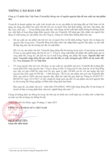 Thông cáo báo chí của Công ty Cổ phần Sữa Việt Nam (Vinamilk) về nguồn nguyên liệu để sản xuất các sản phẩm sữa
