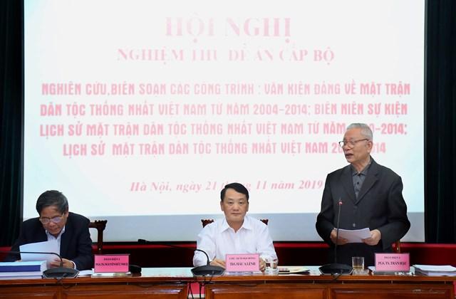 Nghiệm thu Đề tài về lịch sử Mặt trận Dân tộc Thống nhất Việt Nam - 2