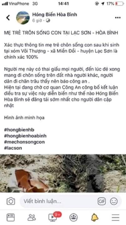 Xử phạt fanpage 'Hóng Biến Hòa Bình' vì thông tin sai vụ 'mẹ trẻ chôn sống con'