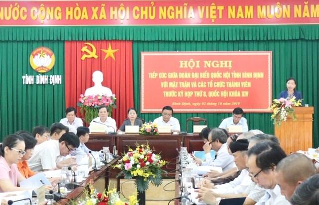Bình Định: Đoàn ĐBQH tỉnh tiếp xúc với Mặt trận và các tổ chức thành viên