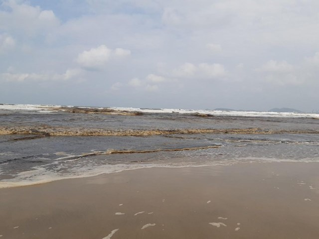 Nước biển Quảng Ngãi đổi màu nâu đen, người dân lo lắng - 1