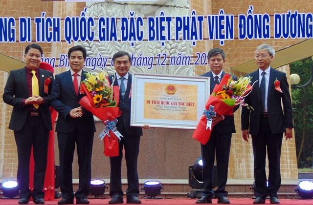 Đón nhận Bằng di tích quốc gia đặc biệt 'Phật viện Đồng Dương'