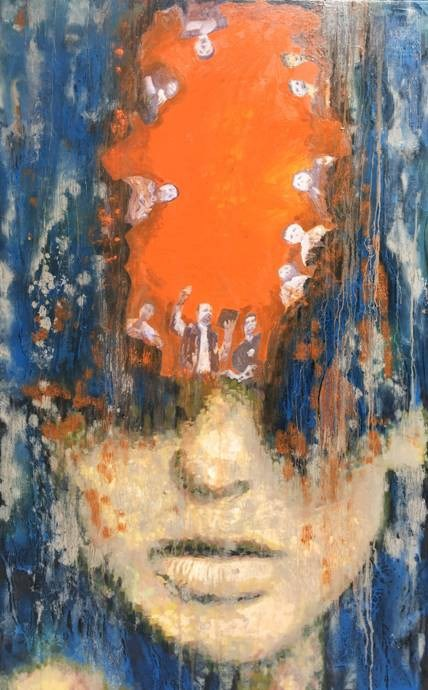 'Mây mưa' với tranh sơn dầu