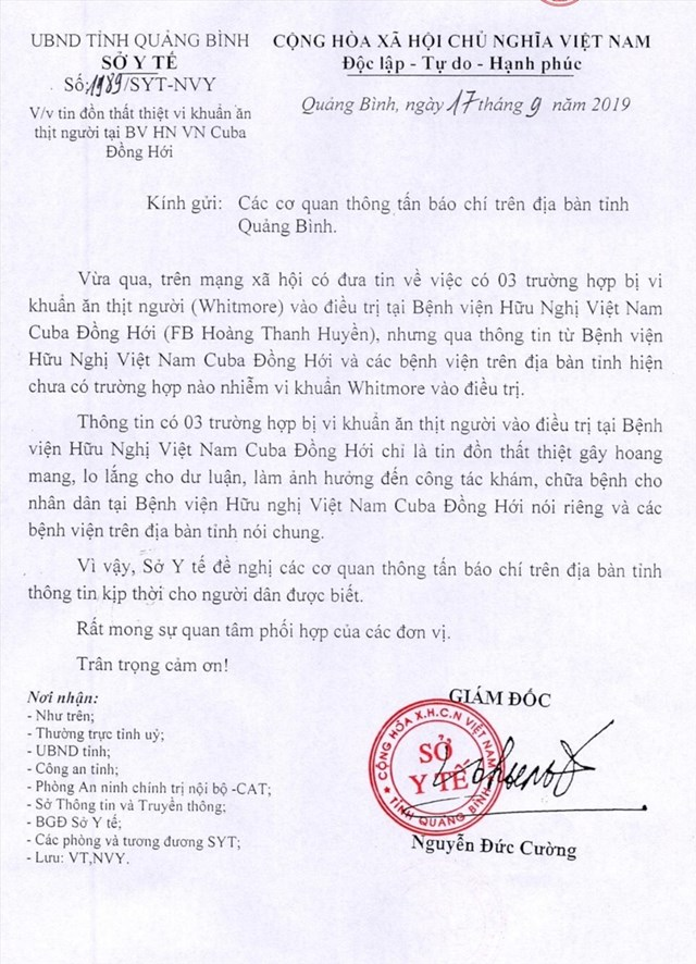 Xử lý người tung tin thất thiệt về 'vi khuẩn ăn thịt người' ở Quảng Bình - 1