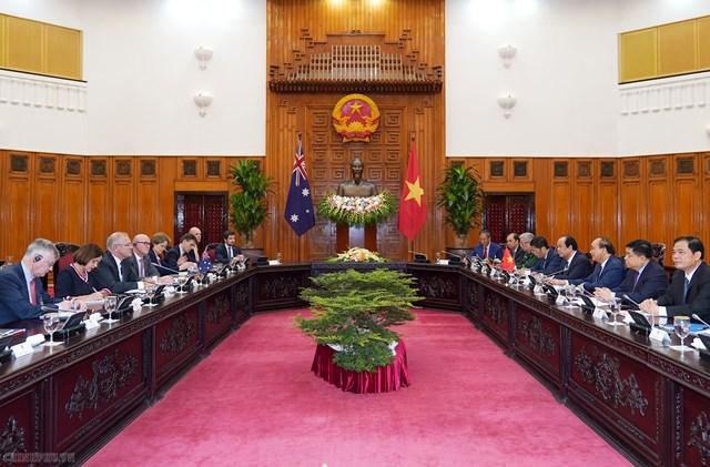 [ẢNH] Thủ tướng Nguyễn Xuân Phúc đón, hội đàm với Thủ tướng Australia - 5