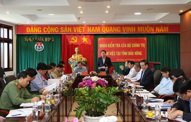 Đoàn kiểm tra của Bộ Chính trị làm việc tại Đắk Nông