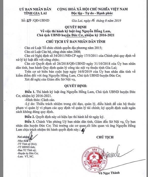 Gia Lai: Cảnh cáo Chủ tịch huyện Đức Cơ vì thiếu trách nhiệm trong chỉ đạo, điều hành