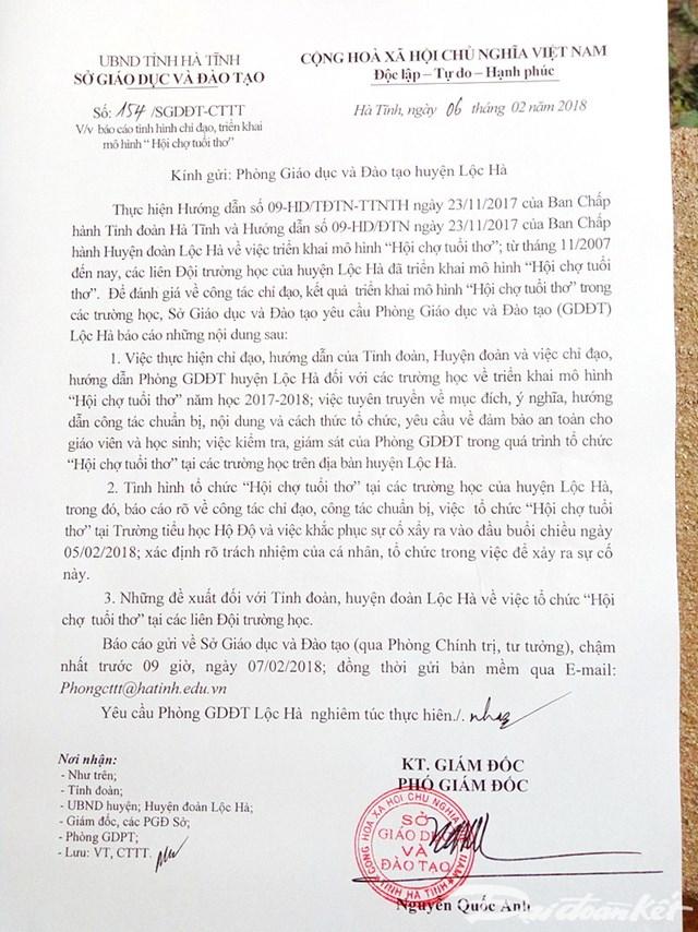 Sở GD&ĐT Hà Tĩnh yêu cầu làm rõ về sự cố nổ bình gas
