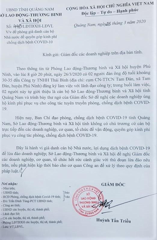 Quảng Nam: Xuất hiện đối tượng giả danh cán bộ, vận động kinh phí ủng hộ