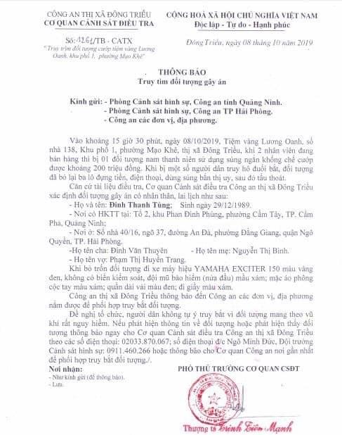 Xác định được đối tượng vụ cướp tiệm vàng ở thị xã Đông Triều - 1