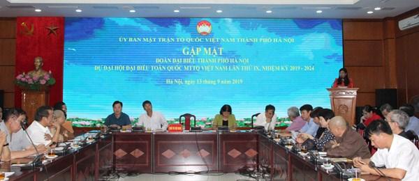 Mặt trận Hà Nội gặp mặt đoàn đại biểu dự Đại hội Mặt trận Tổ quốc Việt Nam lần thứ IX