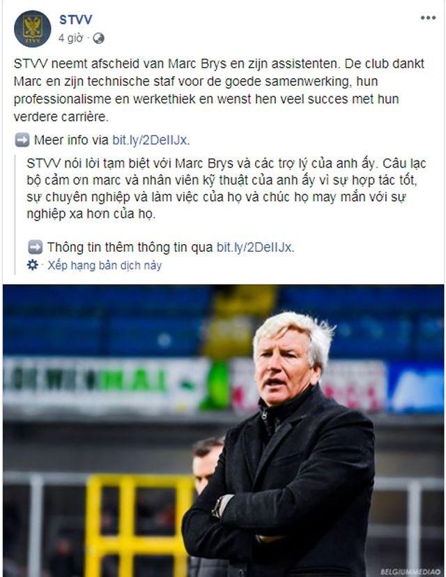 Đội bóng của Công Phượng sa thải HLV trưởng Marc Brys