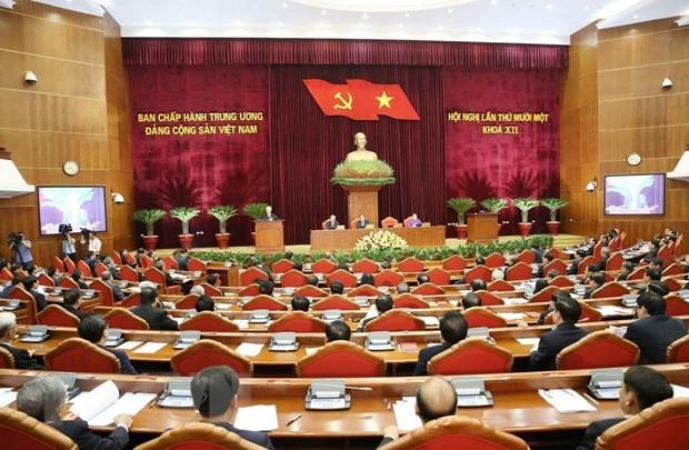Thường trực Ban Bí thư Trần Quốc Vượng điều hành ngày làm việc thứ hai Hội nghị 11 BCH Trung ương Đảng khóa XII