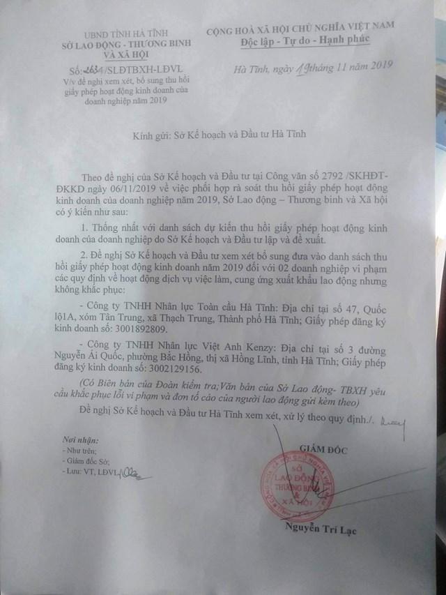 Vụ núp bóng du học để XKLĐ ở Hà Tĩnh: Đề nghị thu hồi giấy phép hoạt động của Cty Toàn Cầu - 1