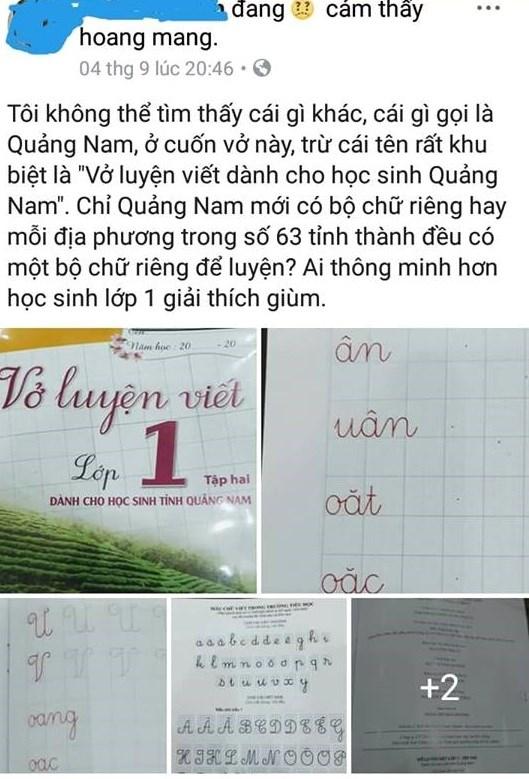 Sở Giáo dục lên tiếng về vở luyện viết dành học sinh Quảng Nam