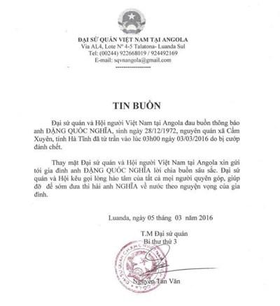Hai lao động bị cướp bắn chết tại Angola