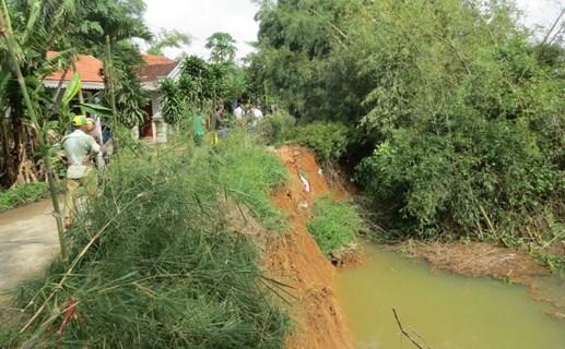 Sông Bồ sạt lở nghiêm trọng