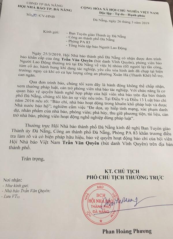 Khẩn trương xác minh việc phóng viên báo Người Lao Động bị hành hung khi đang tác nghiệp - 1