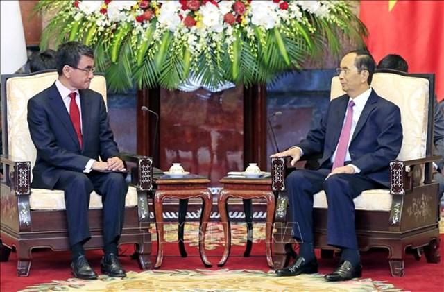 Chủ tịch nước Trần Đại Quang tiếp Bộ trưởng Ngoại giao Nhật Bản - 1