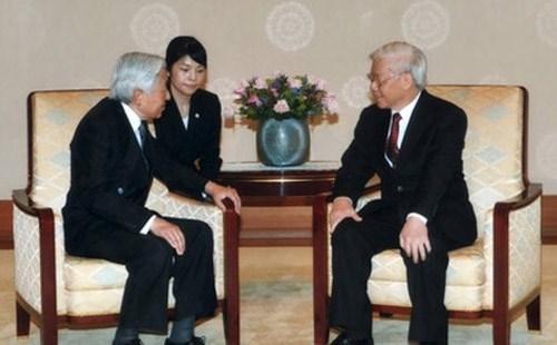 Tổng Bí thư Nguyễn Phú Trọng hội kiến Nhà vua Nhật Bản