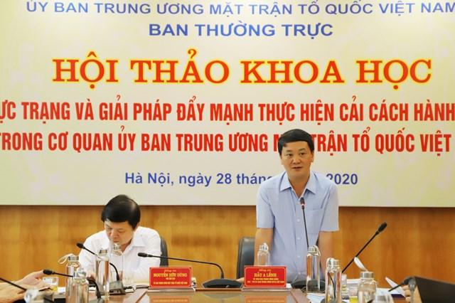 BẢN TIN MẶT TRẬN: Hội thảo khoa học 'Thực trạng và giải pháp đẩy mạnh thực hiện cải cách hành chính trong cơ quan UBTƯ MTTQ Việt Nam'