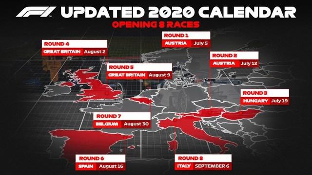 Cập nhật lịch thi đấu F1 2020: Mới chốt xong 8 chặng đầu tiên - 2