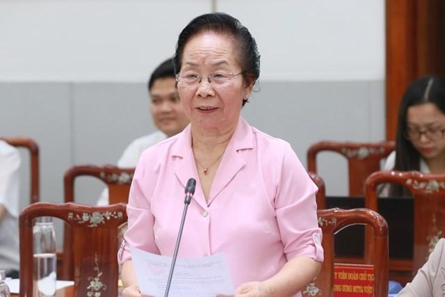 Nguyên Phó Chủ tịch nước Nguyễn Thị Doan phát biểu. Ảnh: Quang Vinh.