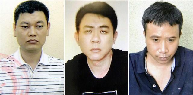 Ba bị can: Nguyễn Anh Ngọc, Nguyễn Hoàng Trung và Phạm Quang Dũng (từ trái sang).