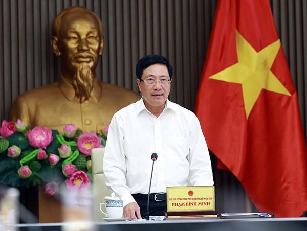 Phó Thủ tướng Phạm Bình Minh phát biểu tại cuộc họp. Ảnh: VGP.