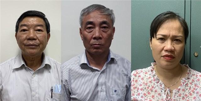 Từ trái qua: Bị can Nguyễn Quốc Anh, bị can Nguyễn Ngọc Hiền và bị can Trịnh Thị Thuận. Ảnh: mps.gov.vn.