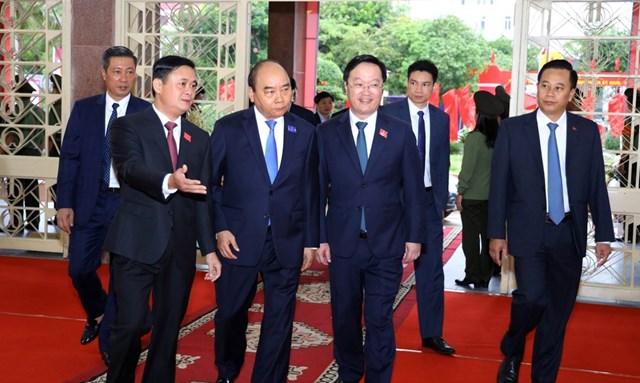 Thủ tướng Nguyễn Xuân Phúc dựĐại hội đại biểu Đảng bộ Nghệ An lần thứ XIX, nhiệm kỳ 2020 -2025. (Ảnh: Phạm Bằng).