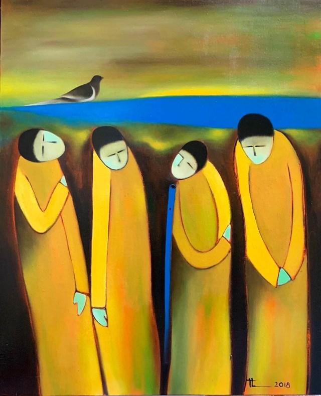 """Bức tranh """"Người thổi sáo"""" của nhà thơ Nguyễn Quang Thiều gửi tới để trưng bày và đấu giá thiện nguyện."""