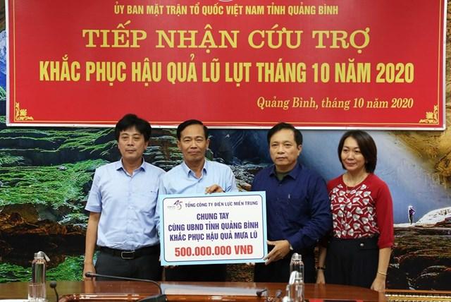 Tổng công ty Điện lực miền Trung hỗ trợ 500 triệu đồng.