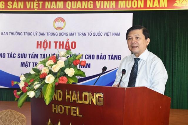 Phó Chủ tịch UBTƯ MTTQ Việt Nam Nguyễn Hữu Dũng phát biểu tại Hội thảo. Ảnh: Trung Quân.
