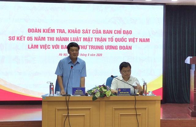 Phó Chủ tịch - Tổng Thư ký Hầu A Lềnh tại buổi làm việc vớiTrung ương Đoàn TNCS Hồ Chí Minh.