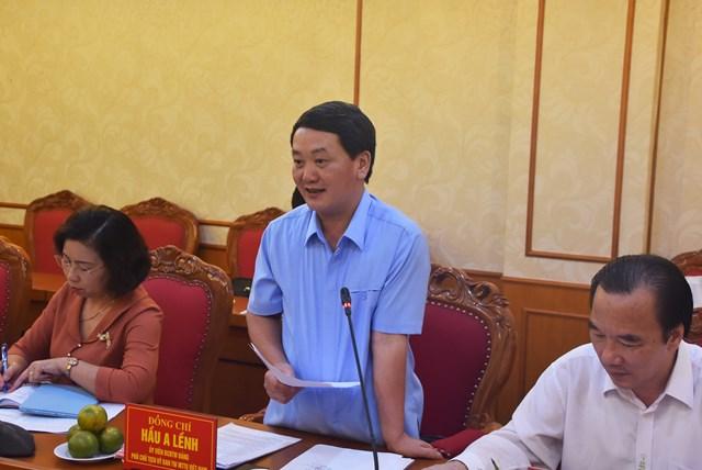 Phó Chủ tịch - Tổng Thư ký UBTƯ MTTQ Việt Nam Hầu A Lềnh phát biểu tại buổi làm việc.