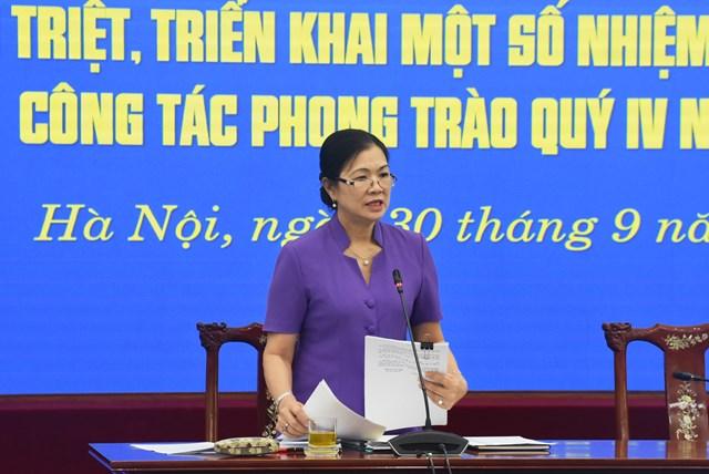 Phó Chủ tịch Trương Thị Ngọc Ánh phát biểu quán triệt các nội dung tại Hội nghị.