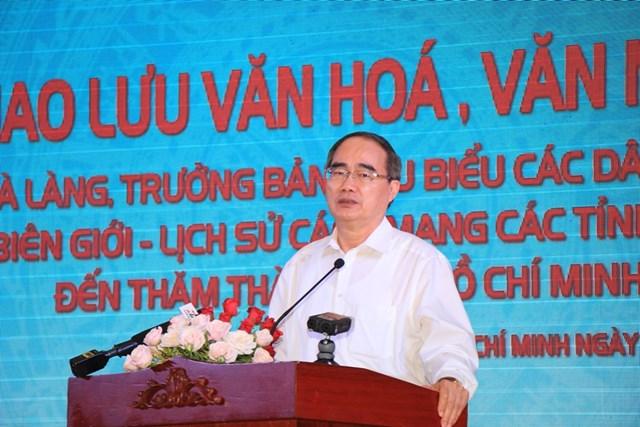 Bí Thư Thành ủy TP HCM Nguyễn Thiện Nhân phát biểu tại buổi giao lưu.